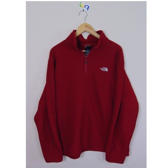 4a2619989 North Face Men L 1/4 Zip Pullover Jacket Red